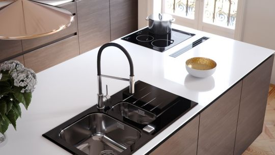 Black kitchen and black accents:  kitchen sink, kitchen taps ...